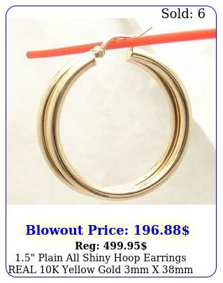 plain all shiny hoop earrings real k yellow gold mm x m