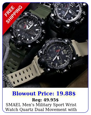 smael men's military sport wrist watch quartz dual movement with analog digita