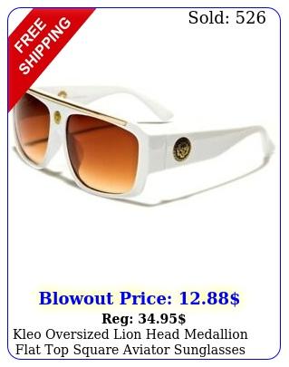 kleo oversized lion head medallion flat top square aviator sunglasse