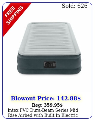 intex pvc durabeam series mid rise airbed with built in electric pump twi