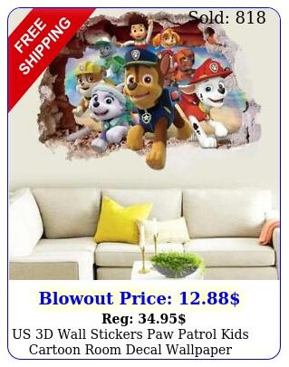 us d wall stickers paw patrol kids cartoon room decal wallpaper removabl