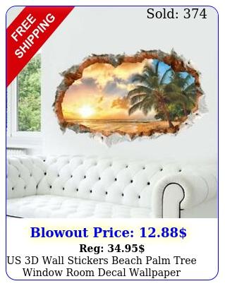 us d wall stickers beach palm tree window room decal wallpaper removabl