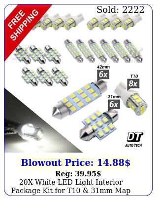 x white led light interior package kit t mm map dome  license plat