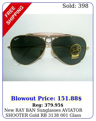 ray ban sunglasses aviator shooter gold rb  glass g lenses m
