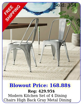 modern kitchen set of dining chairs high back gray metal dining chair retr