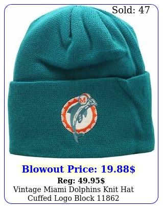 vintage miami dolphins knit hat cuffed logo bloc