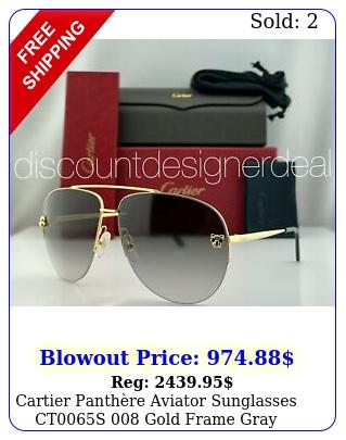 cartier panthre aviator sunglasses cts gold frame gray gradient len