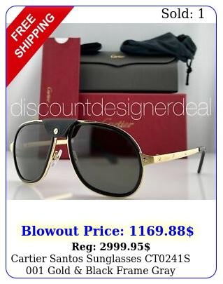 cartier santos sunglasses cts gold black frame gray polarized len