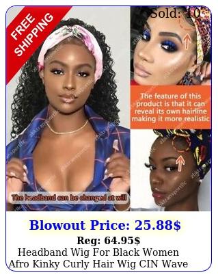 headband wig black women afro kinky curly hair wig cin wave loose wig