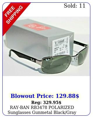 rayban rb polarized sunglasses gunmetal blackgray green