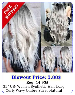 us women synthetic hair long curly wavy ombre silver natural full wig