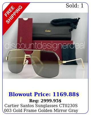 cartier santos sunglasses cts gold frame golden mirror gray lens m
