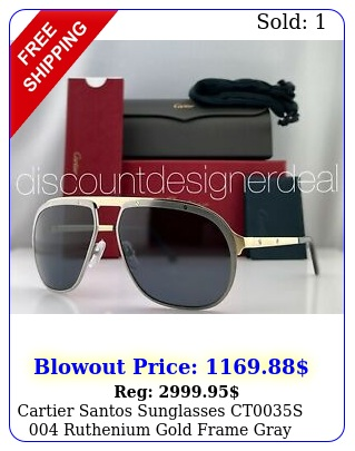 cartier santos sunglasses cts ruthenium gold frame gray polarized len
