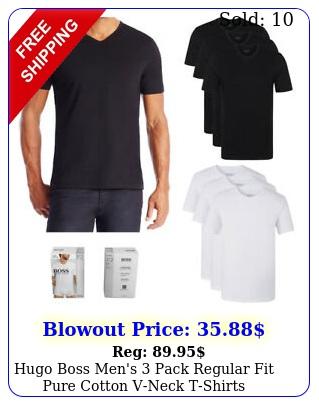 hugo boss men's pack regular fit pure cotton vneck tshirt