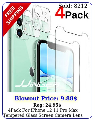 pack iphone  pro max tempered glass screen camera lens protector cove