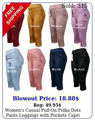 women's casual pullon polka dots pants leggings with pockets capri lengt