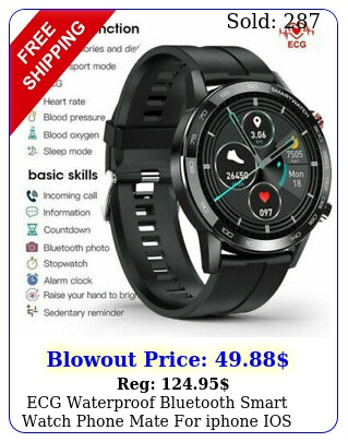 ecg waterproof bluetooth smart watch phone mate iphone ios android samsun