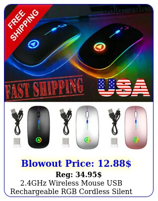 ghz wireless mouse usb rechargeable rgb cordless silent mice pc lapto
