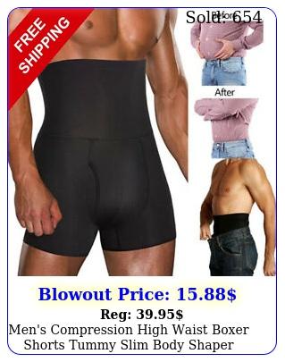 men's compression high waist boxer shorts tummy slim body shaper girdle pants u