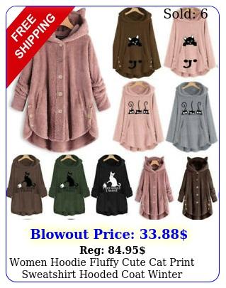 women hoodie fluffy cute cat print sweatshirt hooded coat winter warmer pullove