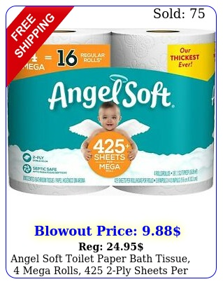 angel soft toilet paper bath tissue mega rolls  ply sheets rol