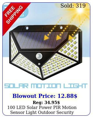 led solar power pir motion sensor light outdoor security garden waterproo