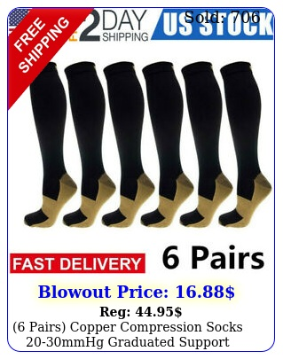 pairs copper compression socks mmhg graduated support mens womens sxx