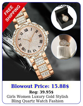 girls women luxury gold stylish bling quartz watch fashion wristwatch bracele