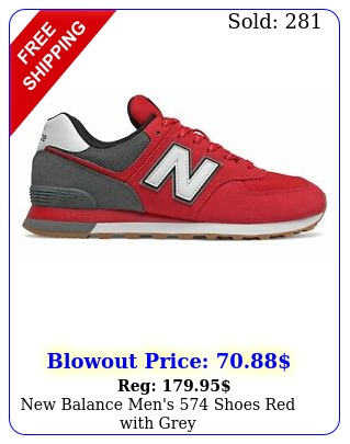 balance men's shoes red with gre
