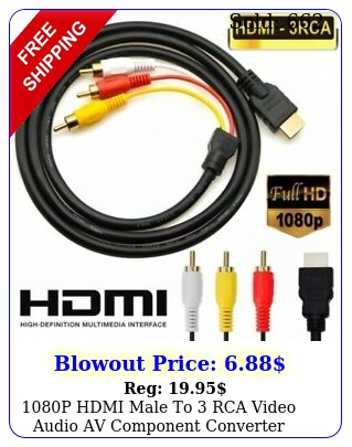 p hdmi male to rca video audio av component converter adapter cable hdt
