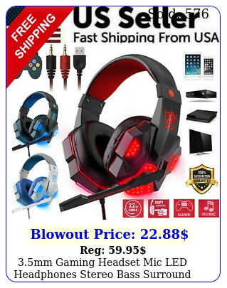mm gaming headset mic led headphones stereo bass surround pc ps xbox on
