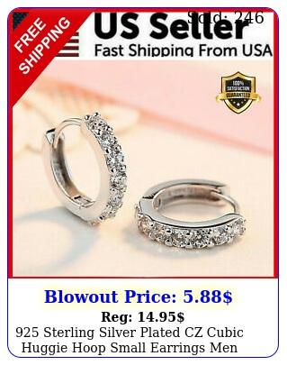sterling silver plated cz cubic huggie hoop small earrings men women e us