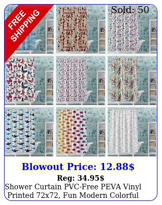 shower curtain pvcfree peva vinyl printed x fun modern colorful style