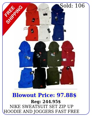 nike sweatsuit set zip up hoodie joggers fast free shipping track sui