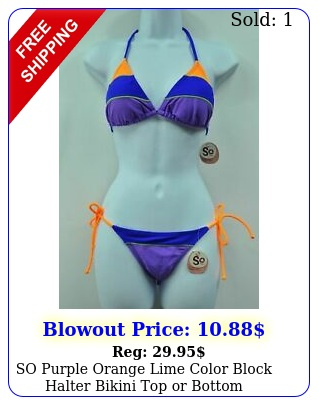 so purple orange lime color block halter bikini top or bottom swimwear msr