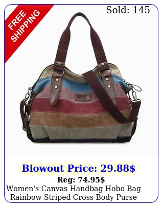 women's canvas handbag hobo bag rainbow striped cross body purse tote satchel u