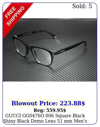gucci ggo square black shiny black demo lens mm men's eyeglasse