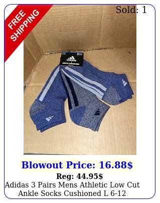 adidas pairs mens athletic low cut ankle socks cushioned l bluegre