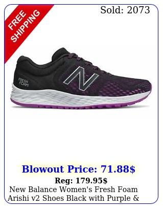 balance women's fresh foam arishi v shoes black with purple silve