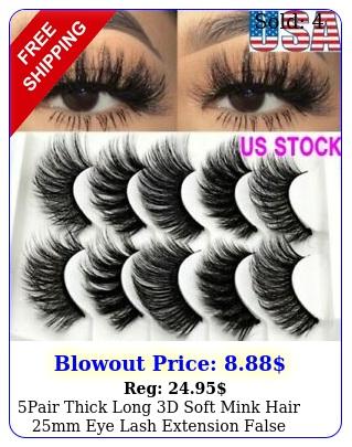 pair thick long d soft mink hair mm eye lash extension false eyelashes u