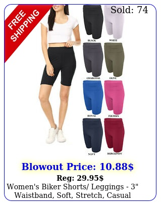 women's biker shorts leggings  waistband soft stretch casual wear outfi