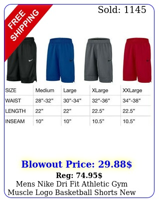 mens nike dri fit athletic gym muscle logo basketball shorts with tag