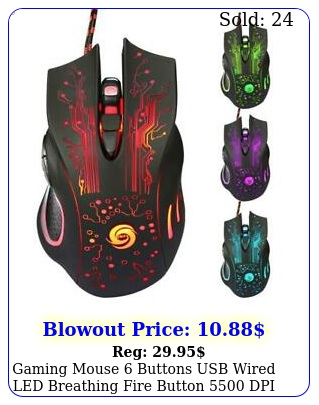 gaming mouse buttons usb wired led breathing fire button dpi laptop p