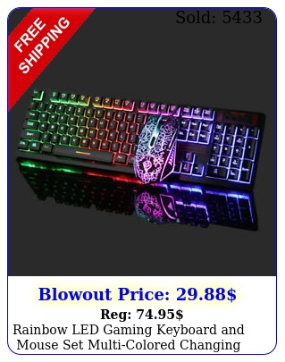 rainbow led gaming keyboard mouse set multicolored changing backlight mous