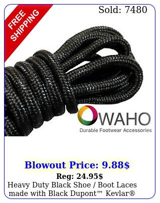 heavy duty black shoe boot laces made with black dupont kevla