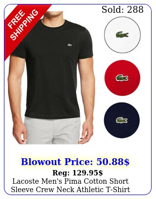 lacoste men's pima cotton short sleeve crew neck athletic tshir