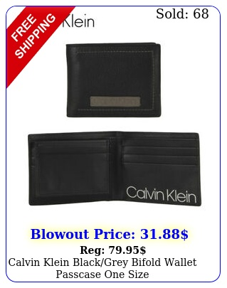 calvin klein blackgrey bifold wallet passcase one siz