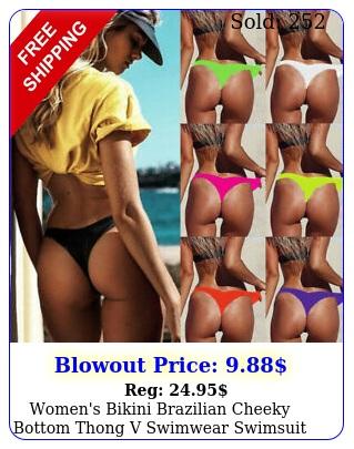 women's bikini brazilian cheeky bottom thong v swimwear swimsuit bathing beac