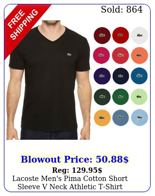lacoste men's pima cotton short sleeve v neck athletic tshir