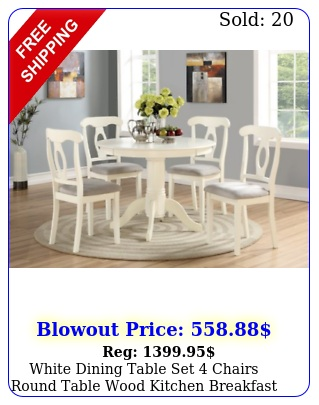 white dining table set chairs round table wood kitchen breakfast furnitur